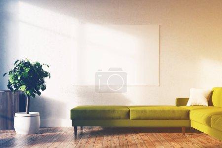White living room, poster, green sofa toned