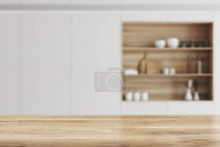 White kitchen, wooden bar stand blur