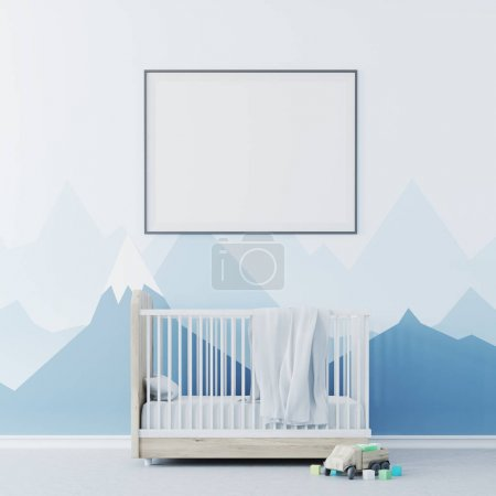 Baby boy s room, cradle and poster close up