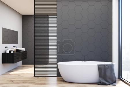 Gray tile bathroom, tub and sinks