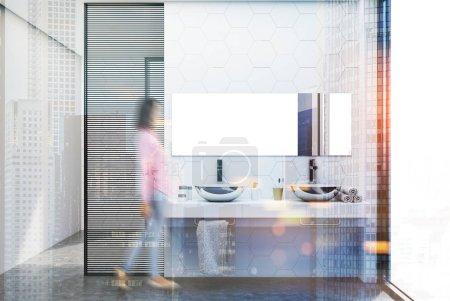 Hexagon tile bathroom, double sink blur