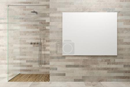White wooden bathroom, shower, poster