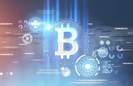 Photo for Shining bitcoin sign inside of a round badge. A futuristic background, a blurred abstract interface. HUD Toned image double exposure mock up - Royalty Free Image