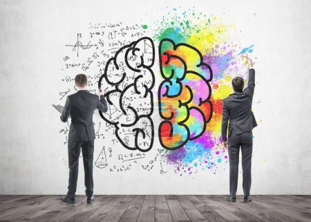 Two businessmen drawing a brain sketch, concrete