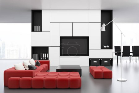 White living room with a red sofa
