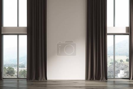 Empty white room, brown curtains