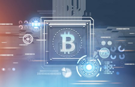 Bitcoin processor, blue red background, hud