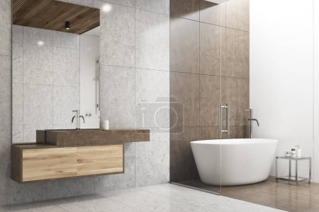 Gray and white bathroom corner