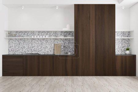 Tiled and dark wooden kitchen