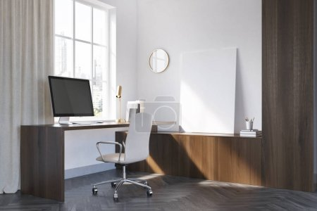 White and dark wooden home office corner, poster