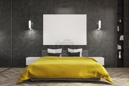 Black bedroom, yellow bed, poster