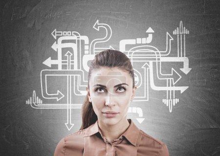 Pensive woman in brown, arrows on blackboard