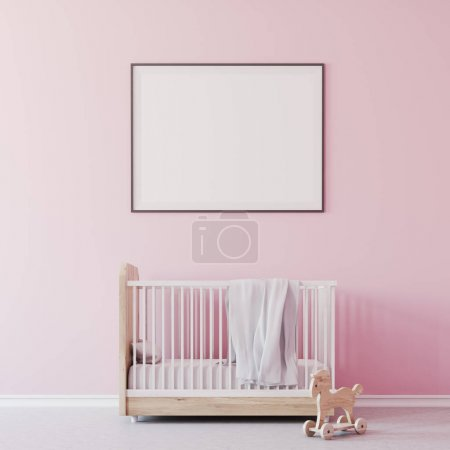 Baby girl s room, cradle and poster close up