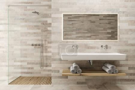 White wooden bathroom, double sink, shower