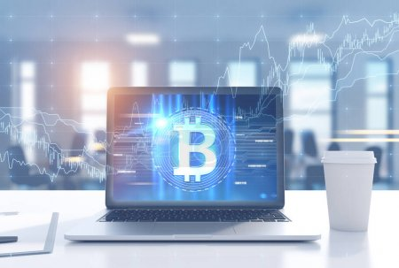 Photo for Laptop with a bitcoin emblem and graphs is standing on a white office desk. A blurred office background. A coffee cup 3d rendering mock up toned image double exposure - Royalty Free Image
