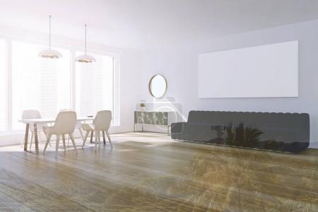 White living room, poster, sofa, table
