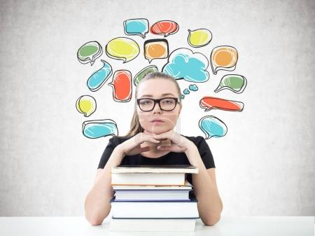 Serious blonde student, books, speech bubbles