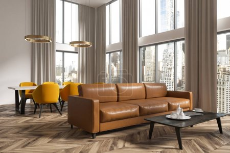 Panoramic living room and dining room corner brown