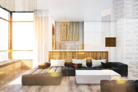 White and wooden living room square table toned