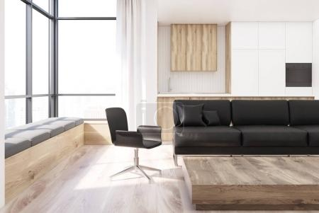 White living room, square table, chair