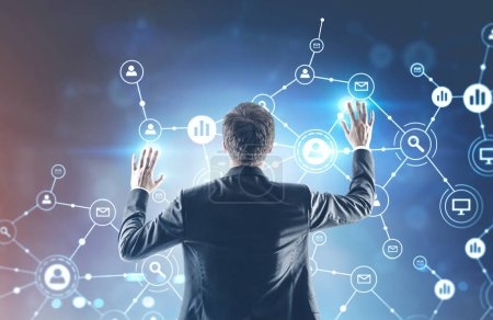 Businessman with hands in the air, network