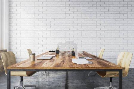 White brick meeting room interior