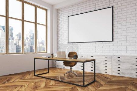 White brick CEO office interior, poster side