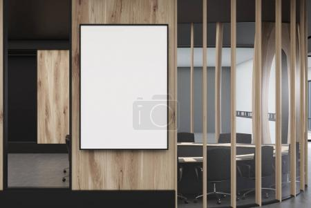 Round wooden meeting room, poster