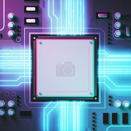 Photo for Purple circuit background with a processor on it. Concept of modern technologies and information. Rays of light. 3d rendering mock up toned image - Royalty Free Image