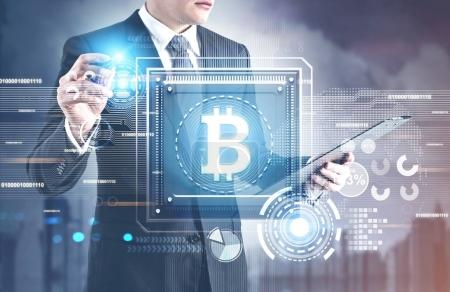 Photo for Businessman is looking at clipboard and holding glowing marker. A cityscape with a processor, a bitcoin symbol, HUD. Concept of modern technologies and information. 3d rendering mock up toned image - Royalty Free Image