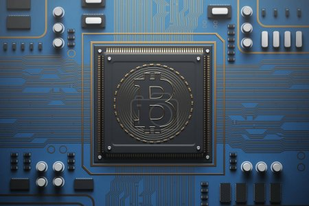 Photo for Blue circuit board with a processor on it. Concept of modern technologies and information. Top view, bitcoin 3d rendering mock up - Royalty Free Image