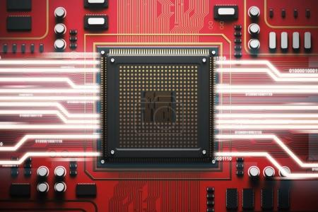 Photo for Red circuit board with a processor on it. Concept of modern technologies and information. Top view, bitcoin 3d rendering mock up double exposure toned image - Royalty Free Image