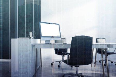 White black office corner, computer screen toned