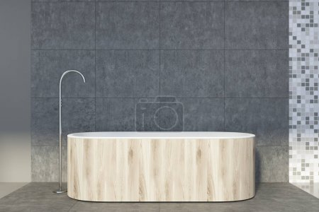 Concrete and tiled bathroom, wooden tub