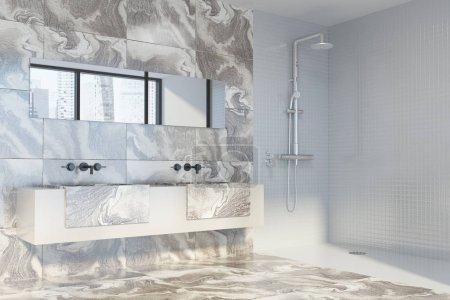 White marble bathroom, shower and sink