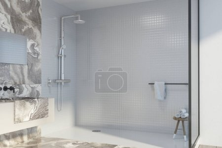 White marble bathroom corner, shower and sink