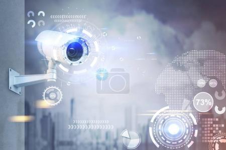 CCTV camera, HUD in a city
