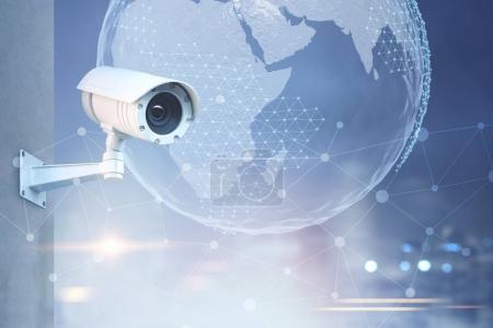 CCTV camera, Earth in a city sky
