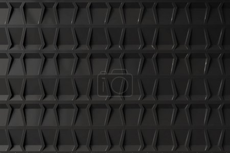Empty black geometric pattern room