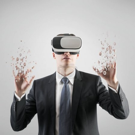 Businessman in VR glasses, zeros and ones fingers