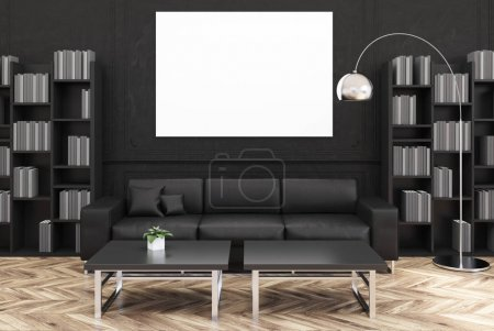 Black living room, black sofa, poster