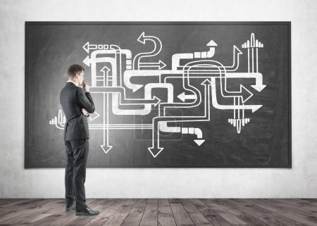Photo for Side view of a thoughtful blond businessman wearing a suit and thinking. He is looking at a blackboard with a business strategy sketch - Royalty Free Image