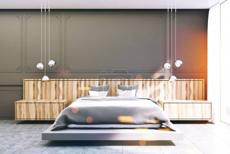 Gray and wooden bedroom, gray bed toned