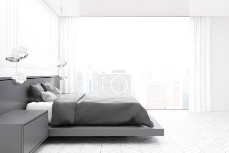 Photo for White bedroom interior with a concrete floor, a master bed with two bedside tables and a panoramic window. A side view. 3d rendering mock up - Royalty Free Image