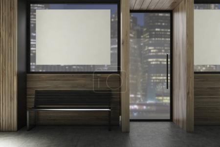 Dark wooden restaurant facade poster bench