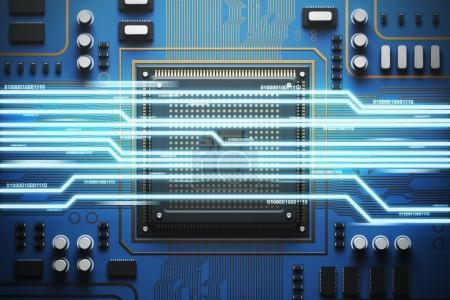 Photo pour Carte bleue avec un processeur dessus. Concept de technologies et d'information modernes. Vue du dessus, Bitcoin 3d rendu maquette double exposition image tonique - image libre de droit