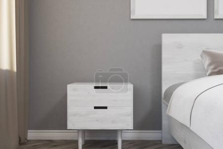 Gray minimalistic bedroom, table