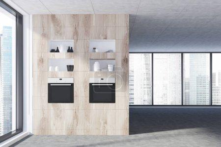 Panoramic kitchen, wooden countertops