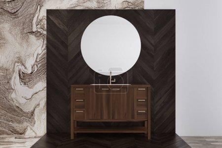 Marble bathroom interior, wooden sink