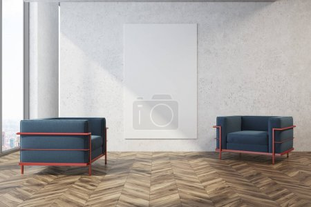 Minimalistic living room, blue armchairs, poster